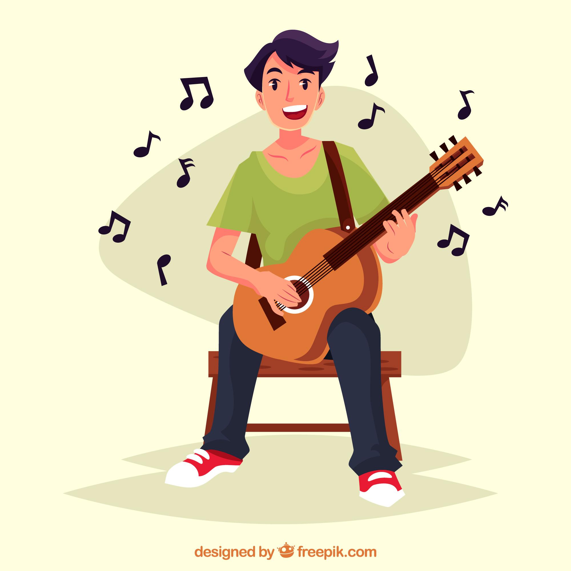 Chico practicando guitarra