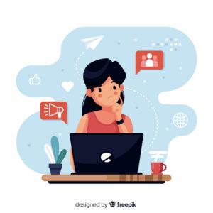 Chica trabajando en redes sociales